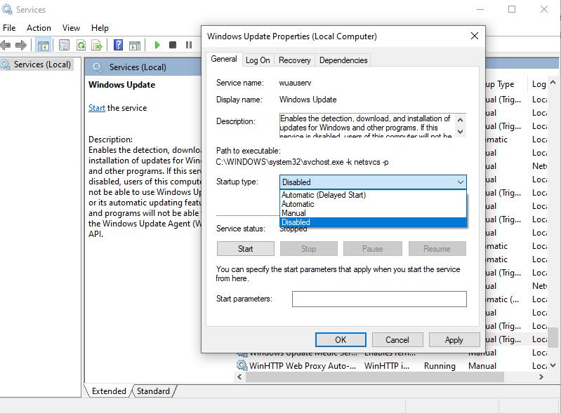 windows 10 stop update