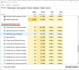 Alte modalitati de marire a vitezei computerului - Procese Windows in desfasurare