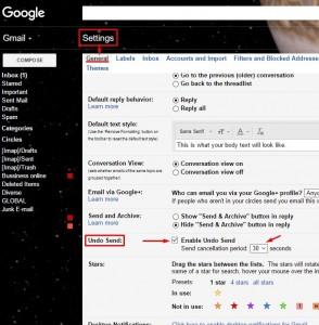 Anularea expedierii unui e-mail pe Gmail - Activarea optiunii UNDO SEND