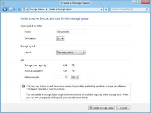 Configurarea unei matrici RAID in Windows 8 - Optiuni de selectat in Storage Spaces