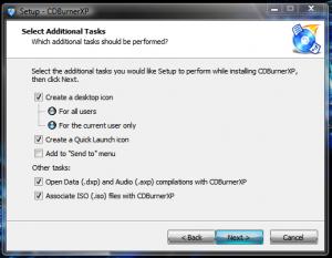 Cum sa inscriptionezi un DVD cu CDBurnerXP - Selectii instalare