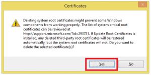 Cum scapam de certificatele web false - Confirmare stergere certificat