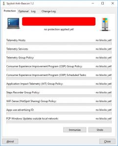 Cum se pot opri transmiterile de date catre Microsoft - AntiBeacon10-inainte de aplicare IMMUNIZE