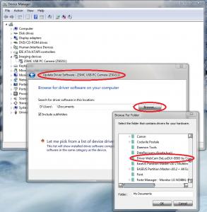 Instalarea manuala a driverelor - Calea spre folderul unde se afla driverul original