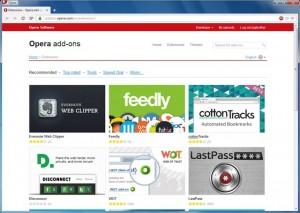 Memoria consumata de extensiile browserelor Firefox si Opera - Extensii Opera