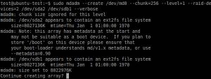 Realizarea practica a unei configuratii RAID in Linux - comanda de executie a matricii RAID