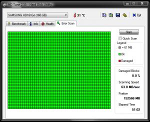 Scanarea harddiskului cu HD Tune - Scanare cu utilizarea computerului