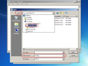 Schimbarea parolei de Windows - Navigarea in Notepad pana la fisierul sethc.exe