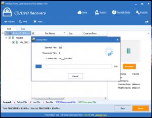 Utilizarea programului de recuperare date - tab-ul CD-DVD Recovery - Salvarea fisierelro selectate a fi recuperate