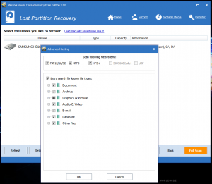 Utilizarea programului de recuperare date - tab-ul Lost Partition Recovery - Settings