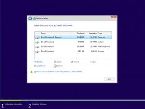 Utilizarea stickului USB bootabil cu Win 10 - selectarea partitiei de instalare