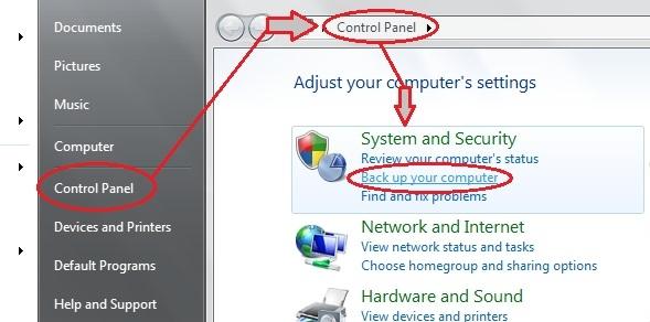 backup hard disk - control panel